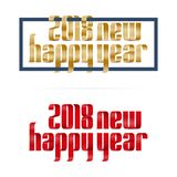 Gold and red 2018 happy new year font ribbon on white background.  Stock Images