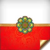 Gold and red Happy Rakhi greeting card Stock Image