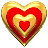 Gold and red heart Stock Photos