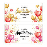 Gold Red Heart balloon invitation. Gold Red Pink Heart balloon invitation . Happy birthday balloon decoration. Gold Red pink Heart balloons on background Stock Photography