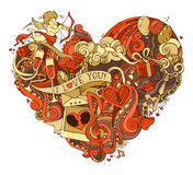 Gold and red heart illustration. Royalty Free Stock Photos