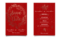 Gold and red invitain card with floral print. Menu list Stock Photos