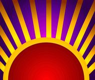 Gold Red Light Rays Background. A background pattern featuring light rays and half circle in gold yellow, red and purple colors Stock Images