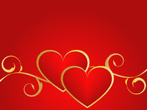 Gold and red love background. Valentines gold and red background with hearts Stock Images