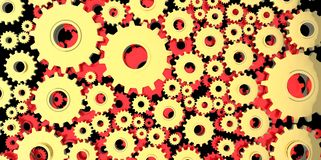 Gold and red mechanical 3D manufacturing, metal gears cog cogs black background Stock Photo
