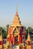 Golden and red mondop at Thai temple Royalty Free Stock Image