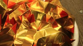 Gold red paper use for Chinese tradition relative passaway. Gold red paper use for Chinese tradition relative pass away use for background or wallpaper Royalty Free Stock Photography