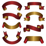 Gold red ribbon banner collection set Stock Image