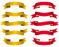 Gold and Red Ribbons Set Royalty Free Stock Image