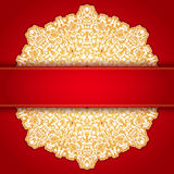 Gold and red round ornament invitation pattern Royalty Free Stock Photo
