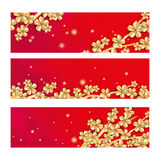 Gold red sakura flower banner Royalty Free Stock Photography