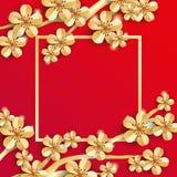 Gold red sakura flower banner Royalty Free Stock Photo