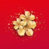 Gold red sakura flowers. Background Apple tree. Spring flower mother day background. Paper art flowers template for banners, flyers, invitation, sale Stock Photography