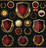 Gold and red shields, laurels and medals collection. Golden shields, laurels and medals retro collection Royalty Free Stock Photography