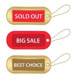 Gold and red tags Stock Photos