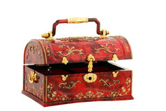 Gold and Red Treasure Chest. Red treasure chest, or jewelry box, with gold trim, latch and handle stock photo
