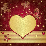 Gold and red valentine frame. Vintage gold-red valentine background with gold heart and butterflies (vector Royalty Free Stock Photography