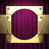 Gold on red velvet curtain background. 3D rendered Royalty Free Stock Image
