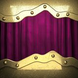 Gold on red velvet curtain background Royalty Free Stock Image