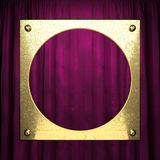 Gold on red velvet curtain background Royalty Free Stock Photos