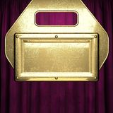 Gold on red velvet curtain background Royalty Free Stock Photo