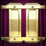Gold on red velvet curtain background. 3D rendered Royalty Free Stock Photo