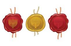 Gold and red wax seal with hanukkah menorah Royalty Free Stock Photo