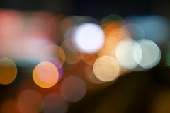 Gold, red, white, gray etc., blurry bokeh light in the expressway view Bangkok cityscape for background royalty free stock photo
