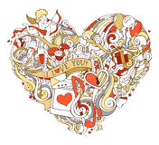 Gold, red and white heart illustration. Royalty Free Stock Images