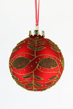 Gold and red xmas ball tree isolated. On white background Stock Photo