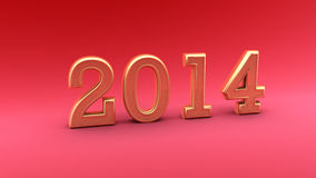 2014 gold on red Royalty Free Stock Photo