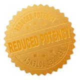 Gold REDUCED POTENCY Badge Stamp. REDUCED POTENCY gold stamp award. Vector golden award with REDUCED POTENCY text. Text labels are placed between parallel lines stock illustration