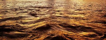 Gold reflection on the calm sea Stock Photos
