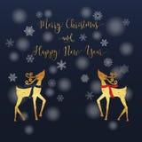 Gold Reindeer Card Stock Photography