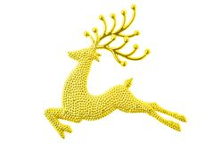 Gold reindeer glitter christmas decoration isolated on white bac Royalty Free Stock Photo