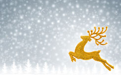 Gold reindeer moose jumping on snow background Stock Photos