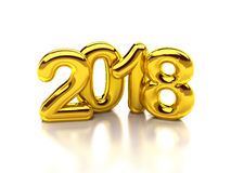 2018 gold render. Gold rounded 2018 3d rendering Stock Photo