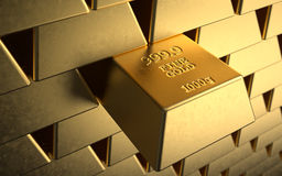 Gold reserve. A lot of money in gold ingots Royalty Free Stock Images