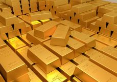 Gold reserves. Banking concept. Many shiny gold bars. 3D rendered illustration Royalty Free Stock Photos