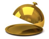 Gold restaurant cloche Stock Photos