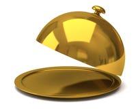Gold restaurant cloche Stock Photos