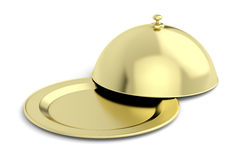 Gold restaurant cloche Stock Photography