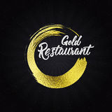 Gold restaurant insignia  and labels for any use Royalty Free Stock Image