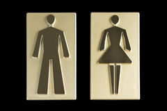 Gold restroom signs. Golden restroom signs with clipping path Stock Photo