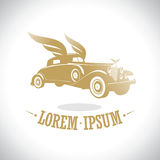 Gold retro car with wings logo. Stock Photos