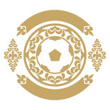 Gold retro the card or an emblem with a soccerball, a heraldic lily, a tape. For decoration. Stock Photography