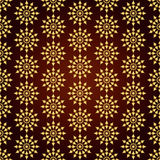 Gold Retro Flower and Circle Seamless Pattern on Pastel Backgrou Stock Photography