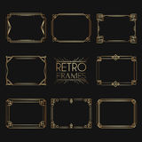 Gold retro frames. Style of 1920s. Collection of golden premium Royalty Free Stock Image