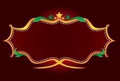 Gold retro neon. Blank shiny neon sign in retro style stock illustration