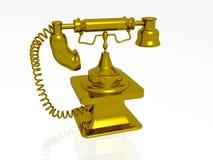 Gold retro phone Stock Images